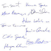 Set of fictions contract signatures, business autograph — Stock Photo