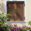 Window with shutter in beautiful flowers- Crete, Greece — Stock Photo
