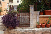 Gate and flowerpots in the courtyard of The Agia Triada Monastery — Stock Photo