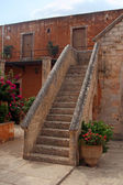 Beautiful stone stairs - courtyard of Agia Triada Monastery- Crete, Greece — Stock Photo
