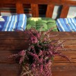 Flowerpot with heather on table at street cafe — Stock Photo