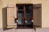 Window with wooden shutters and flowerpots — Stock Photo