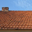 Old red tile roof with chimney — Stock Photo #33918781