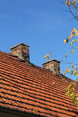 Red tile roof and two chimneys — Stock Photo