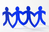 Blue paper people, concept of teamwork — Stock Photo