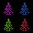 Christmas card- four colorful christmas tree on black background — Stock Photo