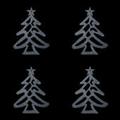 Christmas card- four silver christmas tree on black background — ストック写真