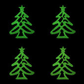 Christmas card- four green christmas tree on black background — Photo