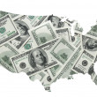 Stock Photo: USmap with one hundred dollars background