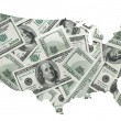 ストック写真: USmap with one hundred dollars background