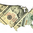 USA map with dollar banknotes background — Foto de Stock