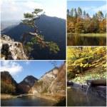 Set of photos from autumn scenery of Pieniny Mountains in Poland — Stock Photo