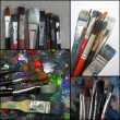Set of photos of dirty paint brushes — Stockfoto