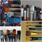 Collection of dirty paint brushes — Photo