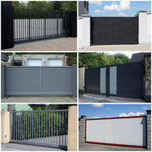 Collection of metal, modern gate — Stock Photo