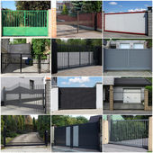 Collection of metal gates — Stock Photo