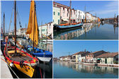 Set of photos from Cesenatico canal, Italy — Stock Photo
