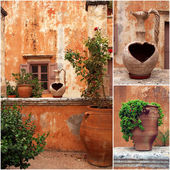 Set of photos from ancient greek courtyard with terracotta flowerpots — Stock Photo