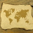 World map on burnt paper — Stock Photo