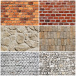 Set of different wall brick and stone texture — Stockfoto