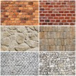 Set of different wall brick and stone texture — Stock fotografie
