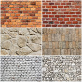 Set of different wall brick and stone texture — Zdjęcie stockowe