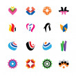 Abstract, colorful icons — Stock Vector