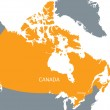 Orange map of Canada — Stock Vector