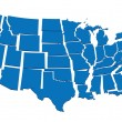 Blue map of USA- concept of disintegration, secession of United States — Vettoriale Stock #37114449