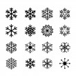 Collection of black snowflakes — Stock Vector