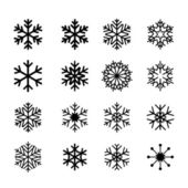 Collection of black snowflakes — Stockvector