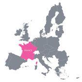 地图的欧洲联盟与法国的征兆 — 图库矢量图片