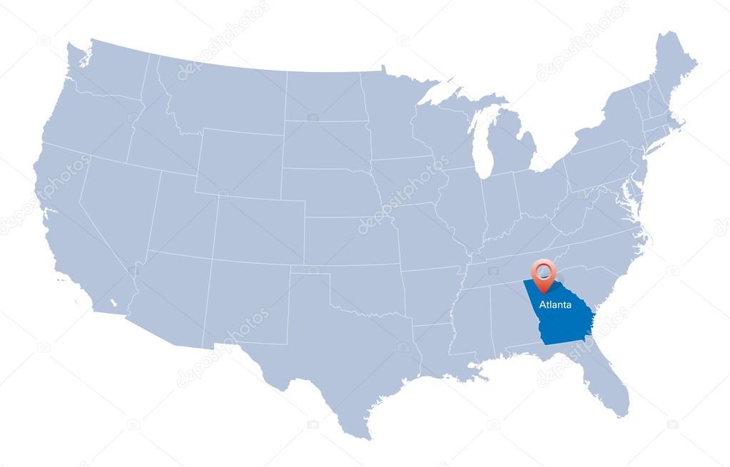 Map of USA with the indication of State of Georgia and Atlanta – Map Usa Georgia