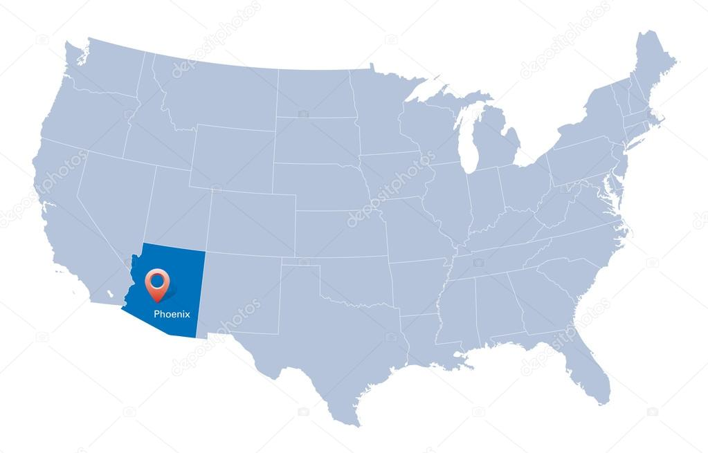Map Of USA With The Indication Of