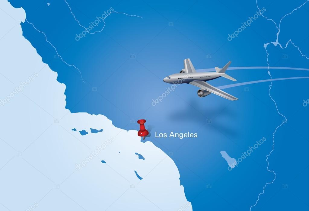 在美国地图的飞机.飞机飞到洛杉矶