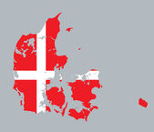 Flag and map of Denmark — Stock Vector