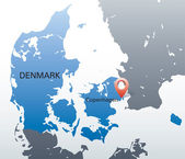 Blue map of Denmark with red marker in the location of Copenhagen — Stock Vector
