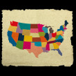 USA map on old paper on black background — Stock Photo