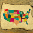 Foto de Stock  : USmap on burnt paper