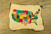 USA map on burnt paper — Stock Photo