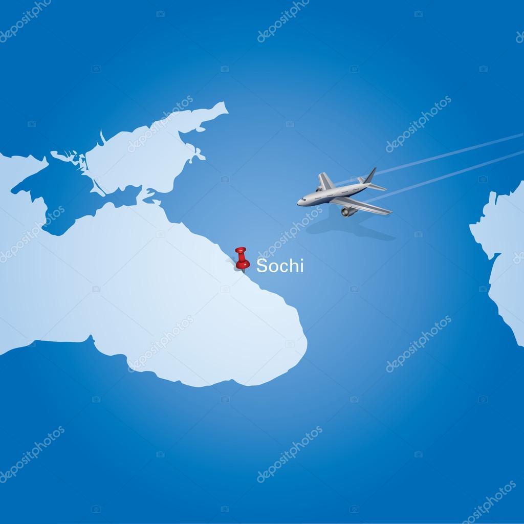 飞机在俄罗斯,飞往索契概念地图