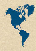 Map of North and South America- blue on yellow paper background — Stock Photo