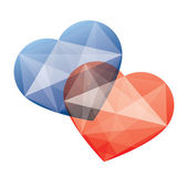 Two crystal like hearts- blue and red — Stock Vector