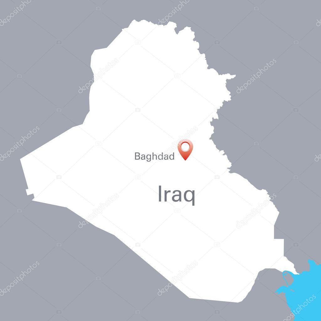 Blanco mapa de Irak con la indicaci n de Bagdad Vector de stock – Mapa De Iraq