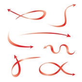 Set of red curved arrows — Stock Vector