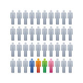 Illustration of people icons, concept of stand out from crowd — Stock Vector
