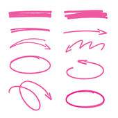 Set of pink hand drawn arrows signs and highlighting elements — Stock Vector