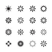 Set of black snowflakes and abstract floral icons — Stock Vector