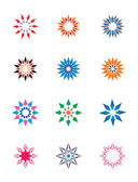 Set of colorful abstract floral and stars icons — Stock Vector