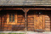 Front side of old traditional wooden house — Stock Photo